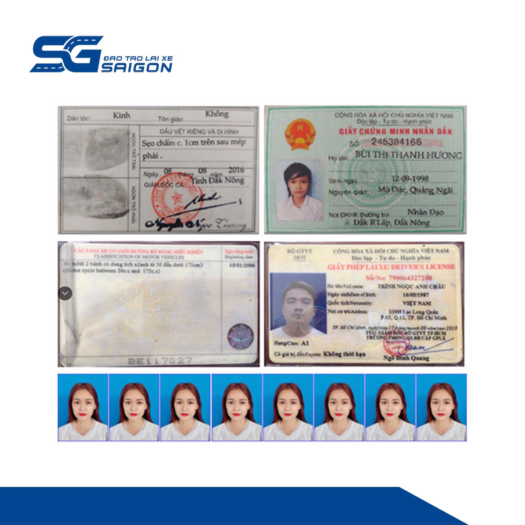 Tất cả các loại bằng lái xe bao gồm ô tô, xe máy,...bắt buộc phải có các giấy tờ cơ bản như căn cước công dân, chứng minh nhân dân, hình thẻ, giấy khám sức khỏe